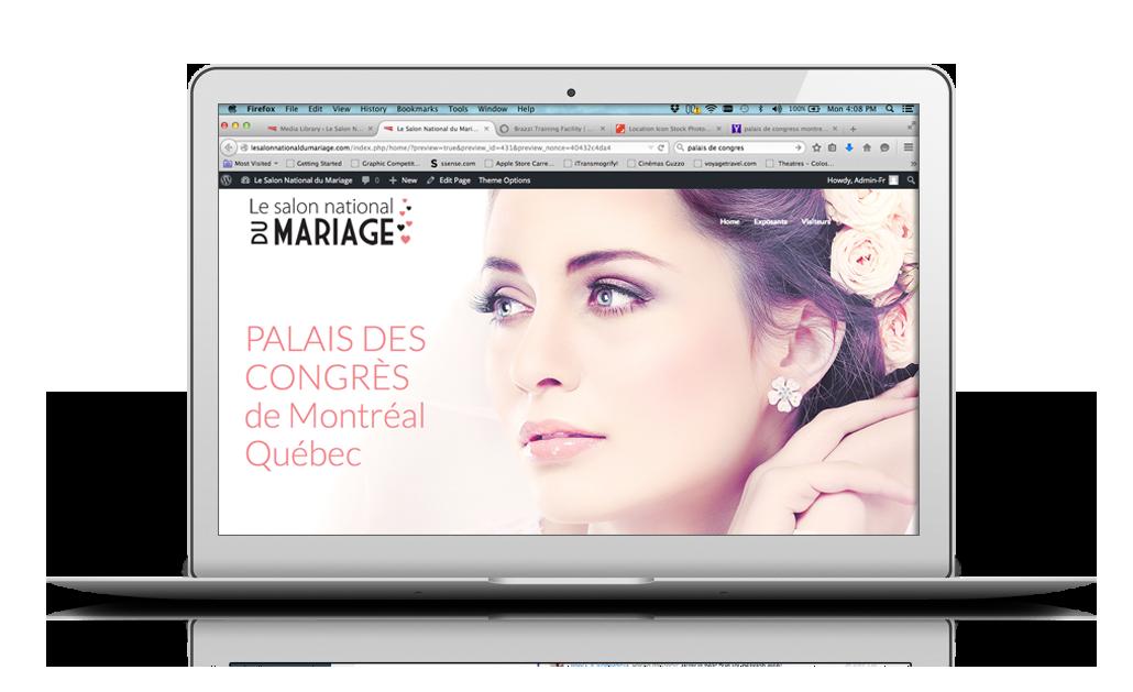 Salon du mariage Montréal ordinateur fond blanc